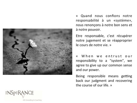 Etre responsable - Being responsible