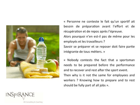 Se préparer comme un sportif - Being prepared like a sportsman
