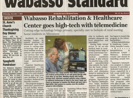 Tapestry Telehealth's partnership with Superior Healthcare featured in the Wabasso Standard