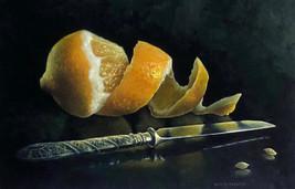 PEELED LEMON WITH A KNIFE