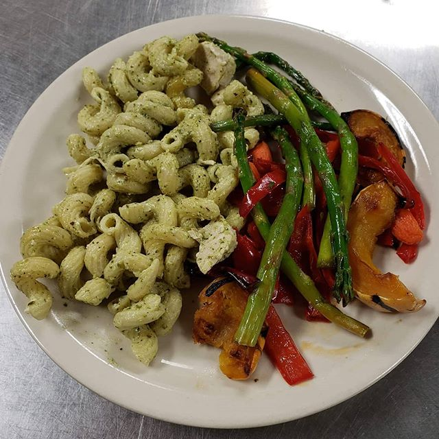 Chicken pesto pasta and roasted veggies.