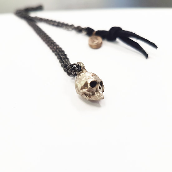 Small Brass Skull on Silver Necklace