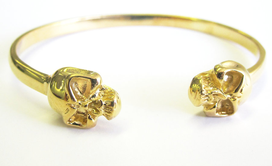Brass Double Headed Skull Bangle Bracelet
