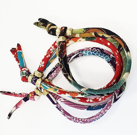Limited - Japanese Chirimen Kasuri Cord Boho Bracelets