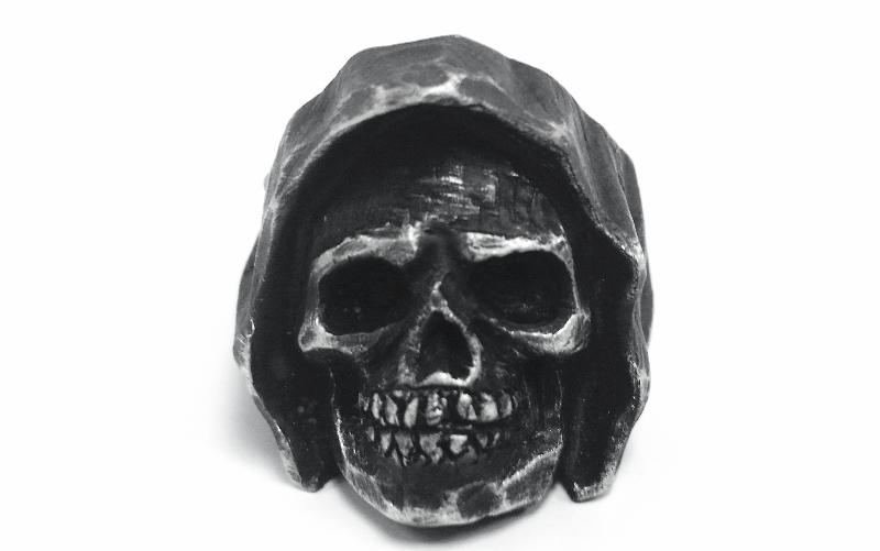 Reaper Skull Biker Ring - Silver Oxidized