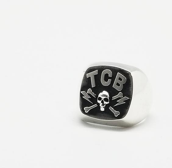 TCB Skull Biker Ring - Silver
