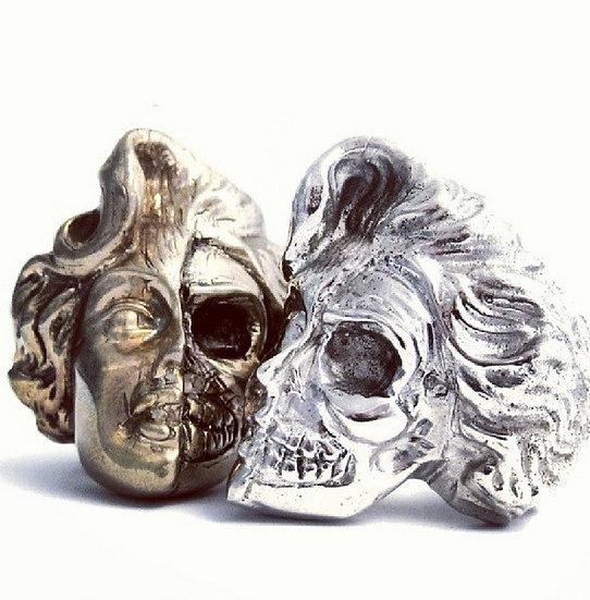 Silver Marilyn Monroe skull ring - Silver