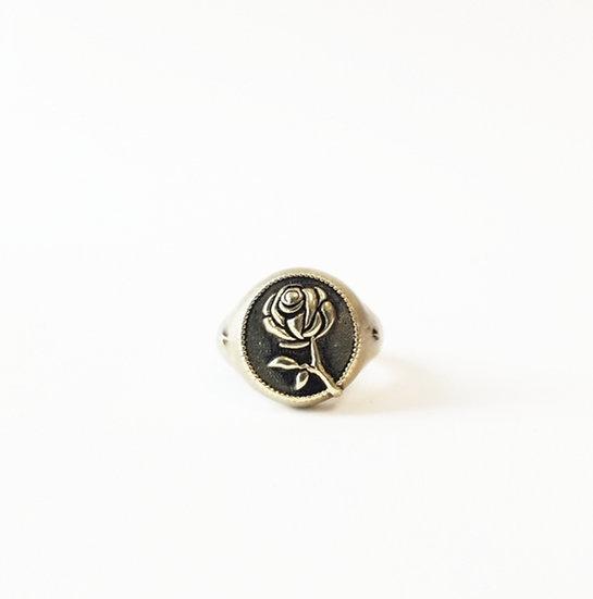 """RAMBLIN' ROSE"" Signet Ring - Brass"