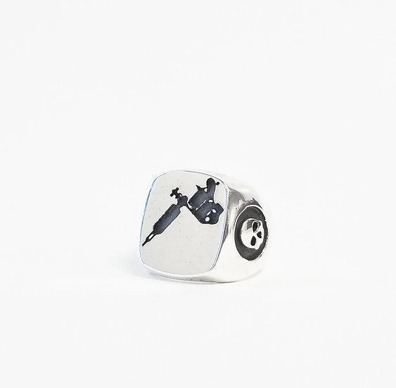 Tattoo Gun Signet Ring in Silver