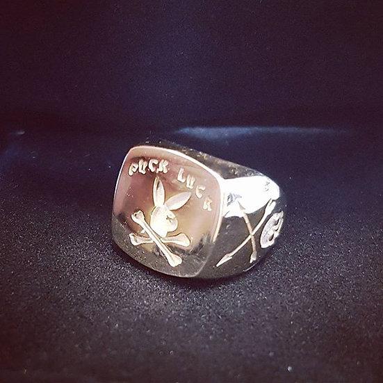 Fuck Luck Playboy Bunny Skull Ring - 10k Gold
