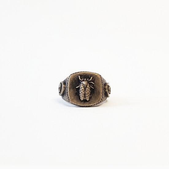 SAMPLE: Cicada Skull Signet Ring - Brass