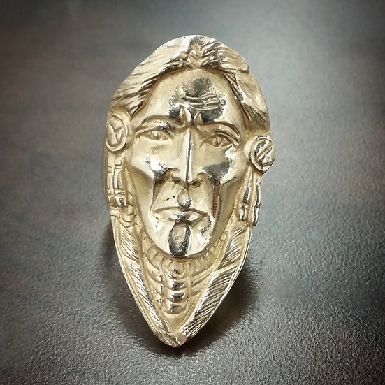 Shaman Indian Chief Warrior Ring - Brass