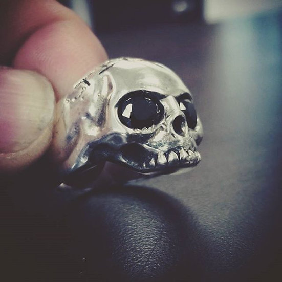 Keith Skull Ring W/ Diamond Cut Onyx Eyes