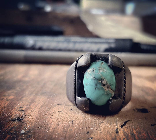 .925 Oxidized Sterling Silver Turquoise Boho Ring