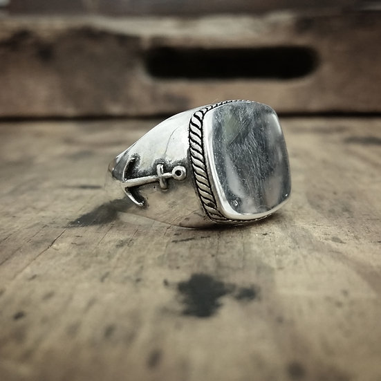 Anchor Signet Ring - Silver