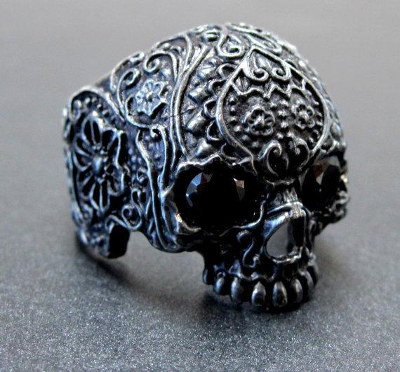 Jawless Flower Skull Ring - Silver W/ Onyx Eyes