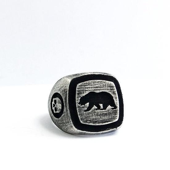 *SAMPLE* California Republic Bear Skull Ring - Silver