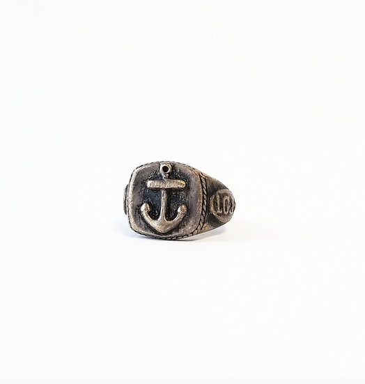 Anchor Skull Signet Ring - Brass