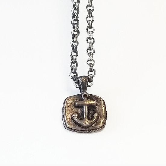 Brass Anchor Sailor on oxidized silver chain