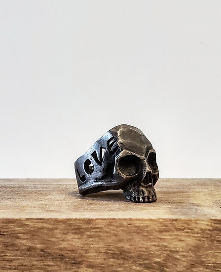 Love Life Oxidized Sterling Silver Skull Ring