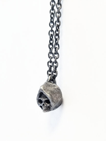 Reaper Skull Head Pendant Necklace in Silver