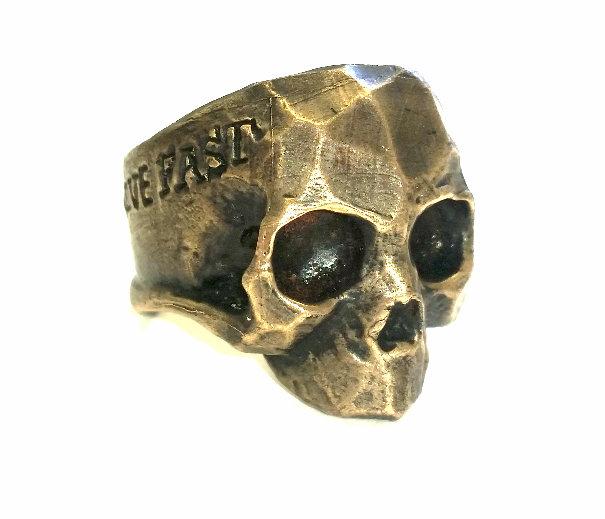 Live Fast Skull Ring - Brass