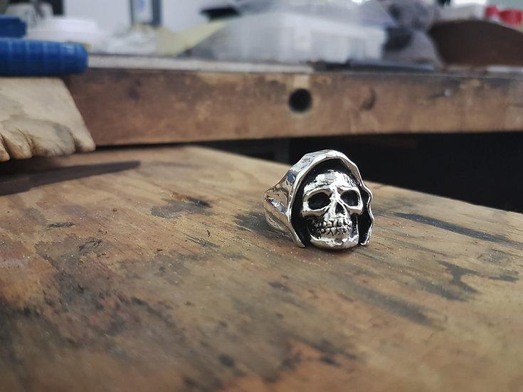 Reaper Skull Biker Ring - Sterling Silver