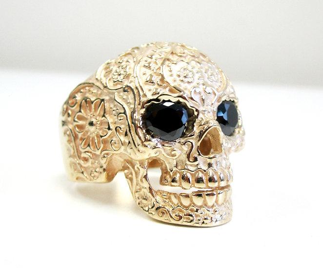 Flower Sugar Skull Ring In 10k Gold W/ Onyx Eyes