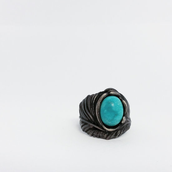 Navajo inspired Turquoise .925 Silver Feather ring