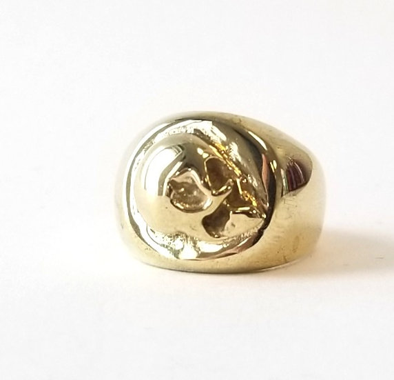 "SAMPLE ""AGAINST THE WALL' SKULL BRASS SIGNET RING"