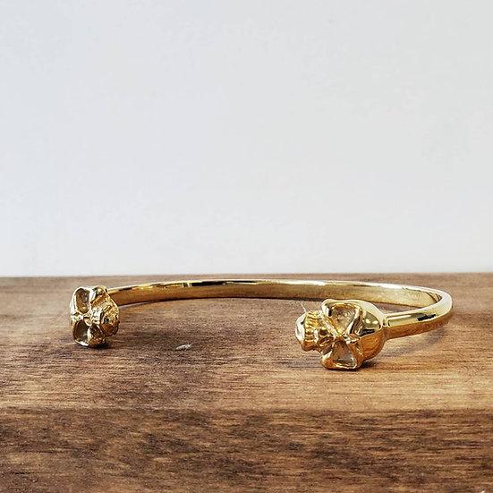 10k Gold Double Headed Skull Bangle Bracelet