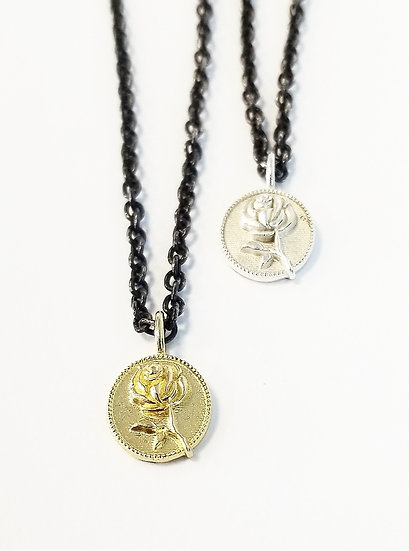 10k GOLD Ramblin' Rose Pendant Necklace