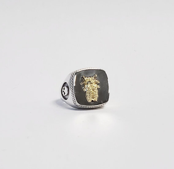 SAMPLE - Cicada silver and brass ring