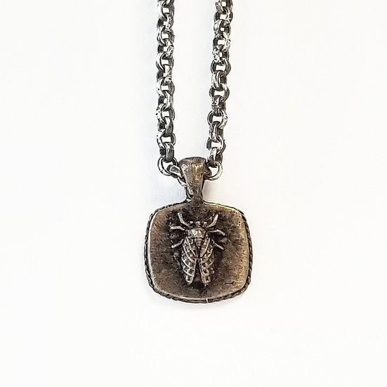 Brass Cicada Sailor on oxidized silver chain