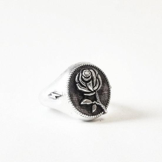 """""""RAMBLIN' ROSE"""" Signet Ring - Silver"""