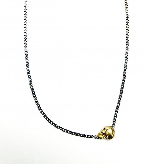 10k gold Skull pendants with Oxidized silver Chain
