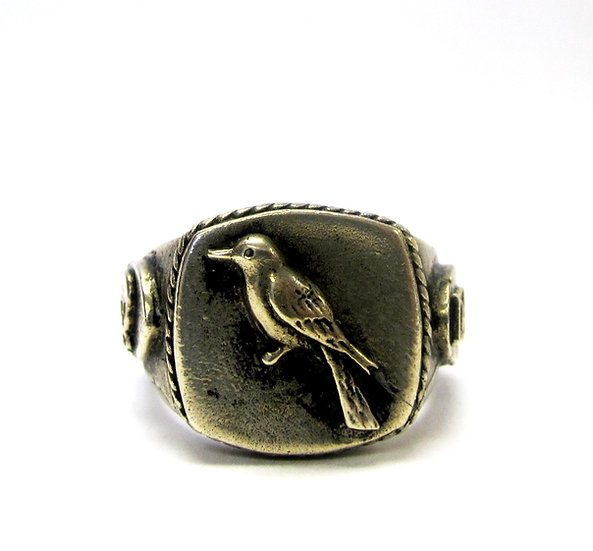 Bronze Sparrow Skull Ring