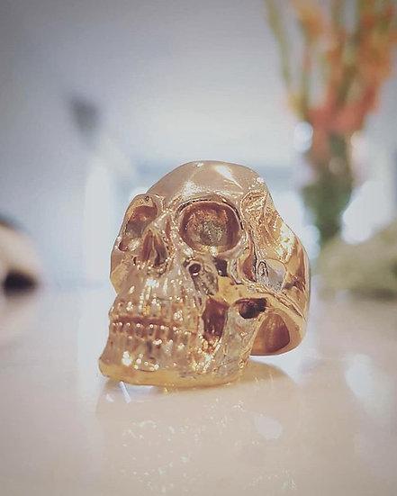 Full Anatomical Human Skull Ring - 10K Gold