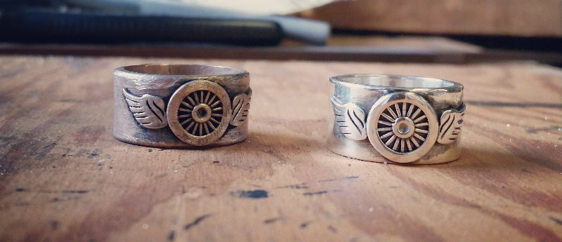 Winged Freedom Wheel Ring - Brass