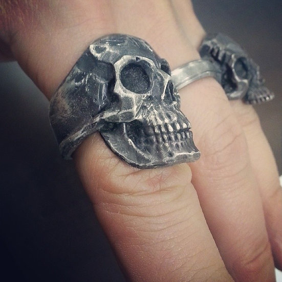 Full Anatomical Human Skull Ring - Oxidized
