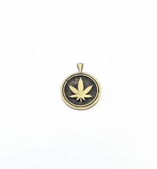 SAMPLE - Marijuana Leaf Brass pendant