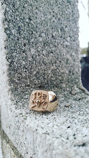 TCB Skull Biker Ring - Brass