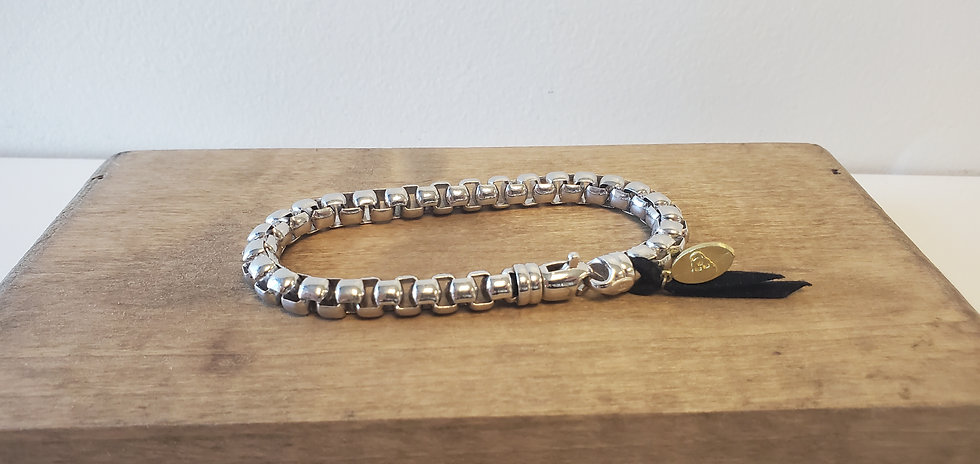 Sterling Silver Rounded Box Chain Bracelet