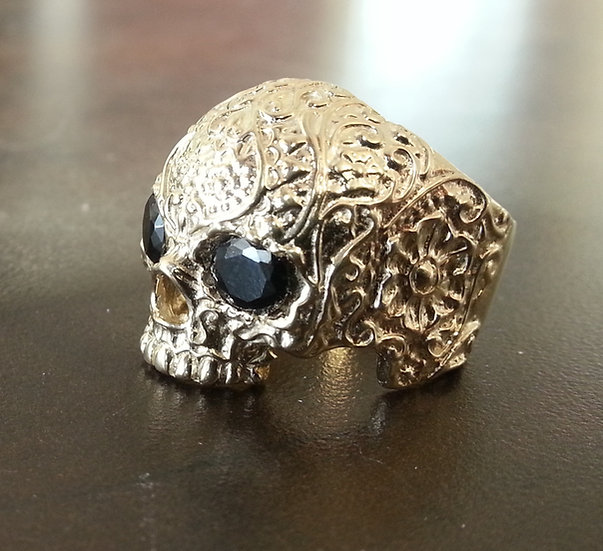 Jawless Flower Skull Ring In 10k Gold W/ Onyx Eyes