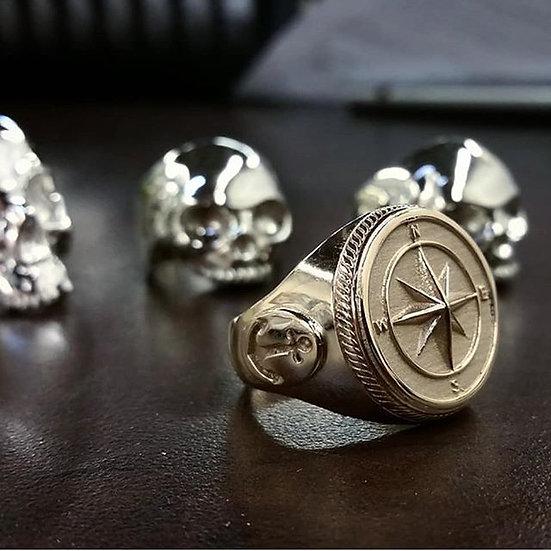 Compass Skull Ring - 10K Gold