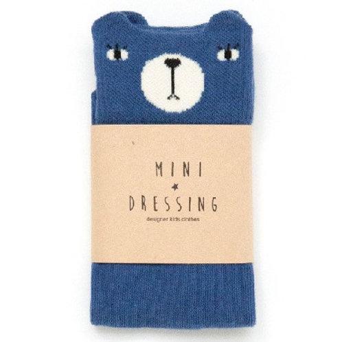"MINI DRESSING meia ""7/8"" urso azul"