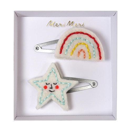 MERI MERI dupla de fivelas estrela & arco-íris