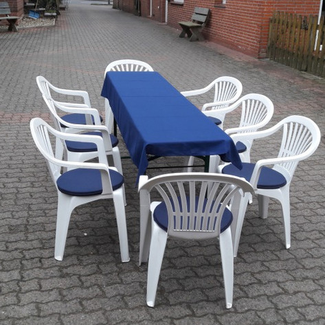 Bierzelt-Garnitur Deluxe inkl. Tischdecke und Auflagen