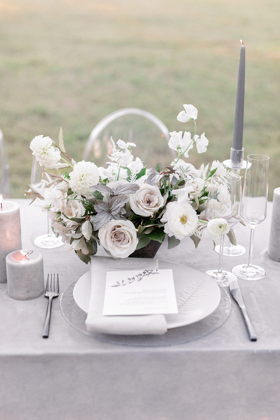 White and dove grey wedding table details. Photo: Sarah Brooke