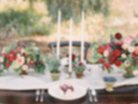 Wedding Tablescape with Flowers and Potted Ferns and Pansies